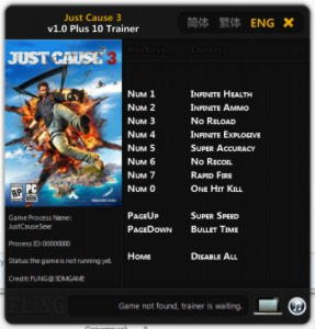 Just Cause 3 Trainer +10 v1.0 {FLiNG}