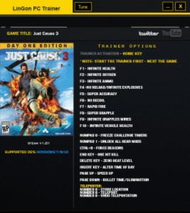 Just Cause 3 Trainer +21 v1.01 {LinGon}