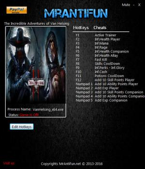 The Incredible Adventures of Van Helsing 2 Trainer +17 v1.3.4b: 64Bit {MrAntiFun}