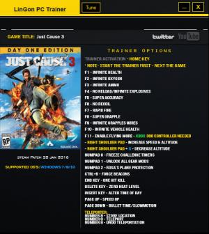 Just Cause 3 Trainer +23 v1.021 Updated 22 Jan 2016 {LinGon}