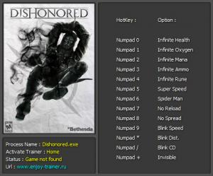 Dishonored Trainer +13 v1.4 {Enjoy}