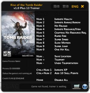 Rise of the Tomb Raider Trainer +13 v1.0 {FLiNG}