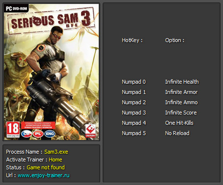 Serious sam 3: bfe trainer +6 v3. 0. 3. 0: build 249955 enjoy.