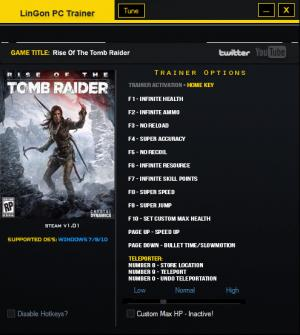 Rise of the Tomb Raider Trainer +13 v1.01 {LinGon}