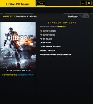 Battlefield 4 Trainer +7 Update Feb 2016: x64 {LinGon}
