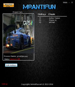 Project CARS Trainer +2 v8.00 64 Bit {MrAntiFun}