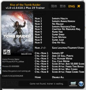 Rise of the Tomb Raider Trainer +19 v1.0 - 1.0.610.1 {FLiNG}