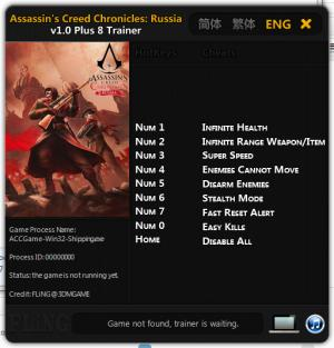 Assassin's Creed Chronicles: Russia Trainer +8 v1.0 {FLING}