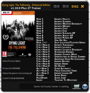 Dying Light: The Following Trainer +27 v1.10.0 {FLiNG}