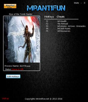 Rise of the Tomb Raider Trainer +7 v1.00: Build 616 {MrAntiFun}