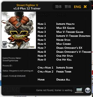 Street Fighter 5 Trainer +12 v1.0 {FLiNG}