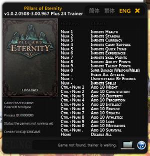 Pillars of Eternity Trainer +24 v1.0.2.0508 - 3.00.967 {FLiNG}
