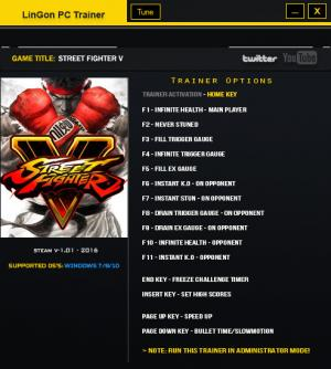 Street Fighter 5 Trainer +15 v1.01 {LinGon}