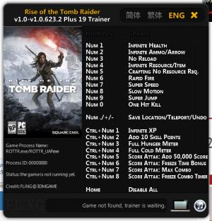 Rise of the Tomb Raider Trainer +19 v1.0 - 1.0.623.2 {FLiNG}