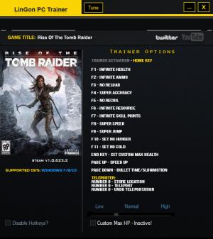 Rise of the Tomb Raider Trainer +17 v1.0.623.2 {LinGon}