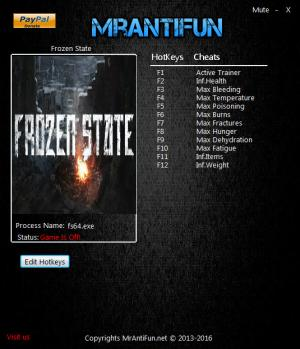 Frozen State Trainer +11 v0.86 Build 188 64bit {MrAntiFun}
