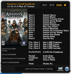 Assassin's Creed: Syndicate Trainer +21 v1.12 - 1.4 {FLiNG}