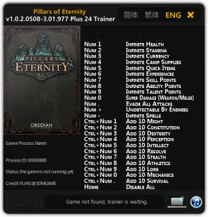 Pillars of Eternity Trainer +24 v1.0.2.0508 - 3.01.967 {FLiNG}