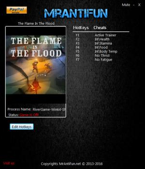 The Flame In The Flood Trainer +6 v1.00: 64 Bit {MrAntiFun}