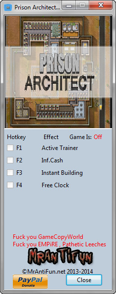 Prison Architect Trainer +4 v1.4 {MrAntiFun}