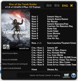 Rise of the Tomb Raider Trainer +19 v1.0 - 1.0.629.3 {FLiNG}