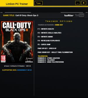 Call of Duty: Black Ops 3 Trainer +9 Update 11 {LinGon}