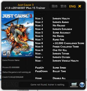 Just Cause 3 Trainer +15 v1.0 - 20160307 {FLiNG}