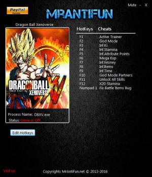 Dragon Ball Xenoverse Trainer +11 v1.08 {MrAntiFun}