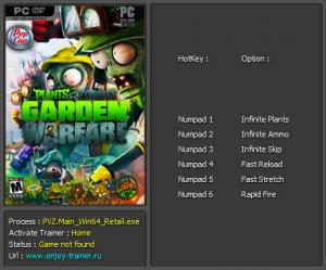 Plants vs Zombies: Garden Warfare Trainer +6 v1.0.3.0 Build - 598693 {Enjoy}