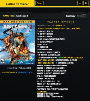 Just Cause 3 Trainer +23 v1.021 Sky Fortress DLC {LinGon}
