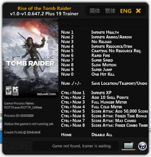 Rise of the Tomb Raider Trainer +19 v1.0 - 1.0.647.2 {FLiNG}