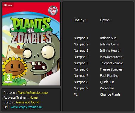 скачать трейнер plants vs zombies