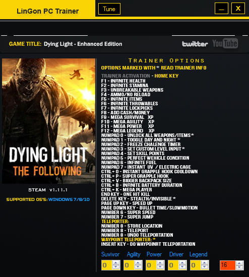Dying light cheats table