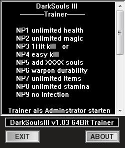 Dark Souls 3 Trainer +6 v1 03 dR oLLe - download cheats, codes, trainers
