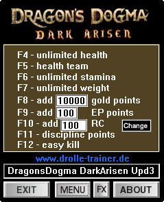 Dragons Dogma: Dark Arisen Trainer +9 v1.0-1.3 {dR.oLLe}