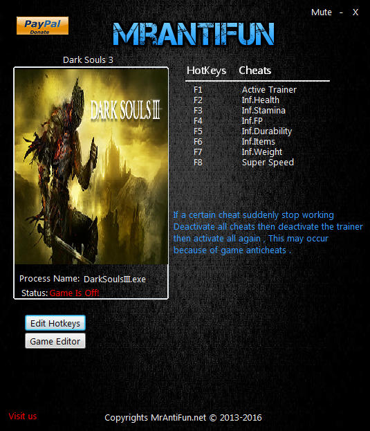Dark Souls 3 Trainer +17 v1 04 MrAntiFun - download cheats, codes