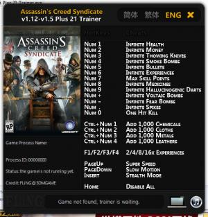 Assassin's Creed: Syndicate Trainer +21 v1.12 - 1.5 {FLiNG}