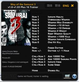 Way of the Samurai 3 Trainer +16 v1.0 - 1.03 {FLiNG}