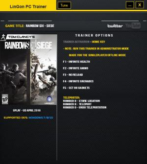 Tom Clancy's Rainbow Six: Siege трейнер Trainer +7 Update 4 April 2016 {LinGon}