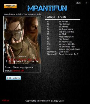 Metal Gear Solid 5: The Phantom Pain Trainer +14 v1.08B {MrAntiFun}
