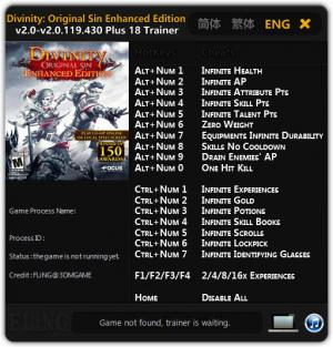 Divinity: Original Sin Enhanced Edition Trainer +18 v2.0 - 2.0.119.430 {FLiNG}