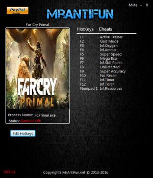 Far Cry: Primal Trainer +12 v1.3.1 {MrAntiFun}