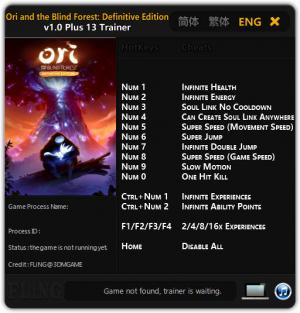 Ori and the Blind Forest Trainer +13 v1.00 {FLiNG}