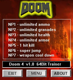 Doom 2016 Trainer +7 v1.0 {dR.oLLe}