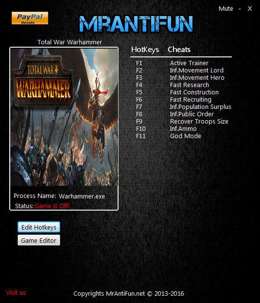 Total War Warhammer Trainer Build