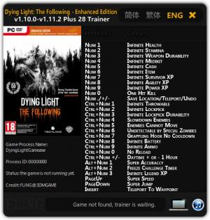 Dying Light: The Following Trainer +28 v1.10.0 - 1.11.2 {FLiNG}