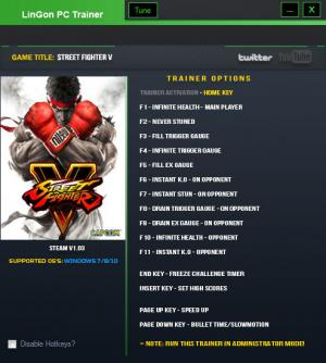 Street Fighter 5 Trainer +15 v1.03 {LinGon}