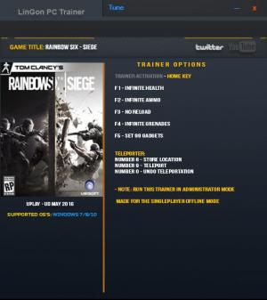 Tom Clancy's Rainbow Six: Siege Trainer +7 Latest UPlay: May 2016 {LinGon}