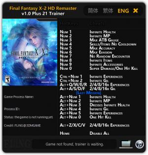 Final Fantasy X / X-2 HD Remaster Trainer +21 v1.00 {FLiNG}
