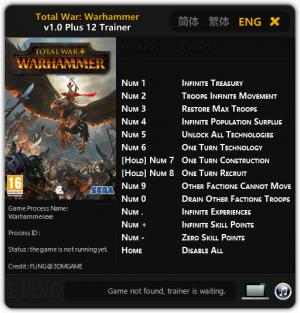 Total War: Warhammer Trainer +12 v1.0 {FLiNG}